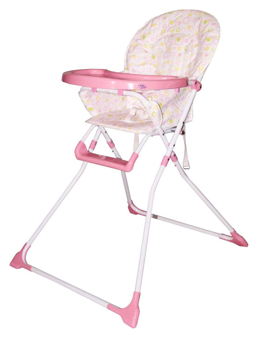 Image of Bebe Fold Ez 123 Folding Highchair - Pink Bubbles.