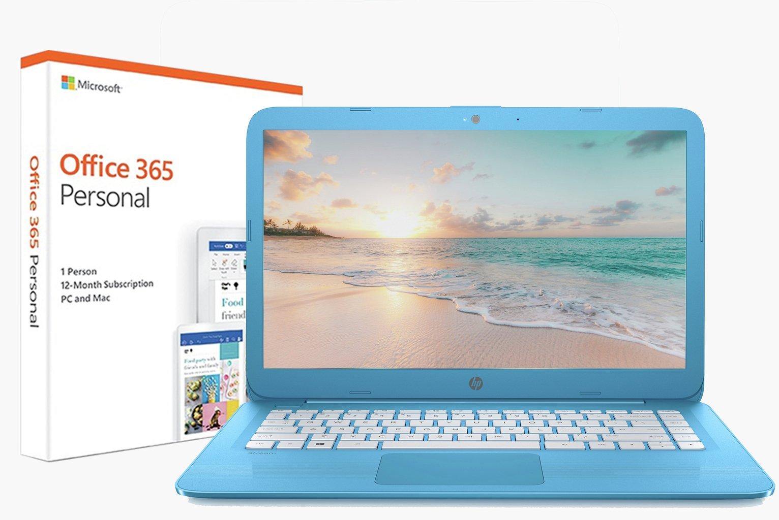 HP Stream 14 Inch Celeron 4GB 32GB Cloudbook - Blue