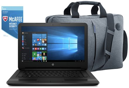 HP 14 Inch Intel Pentium 8GB 2TB Laptop Black - Bag & McAfee.