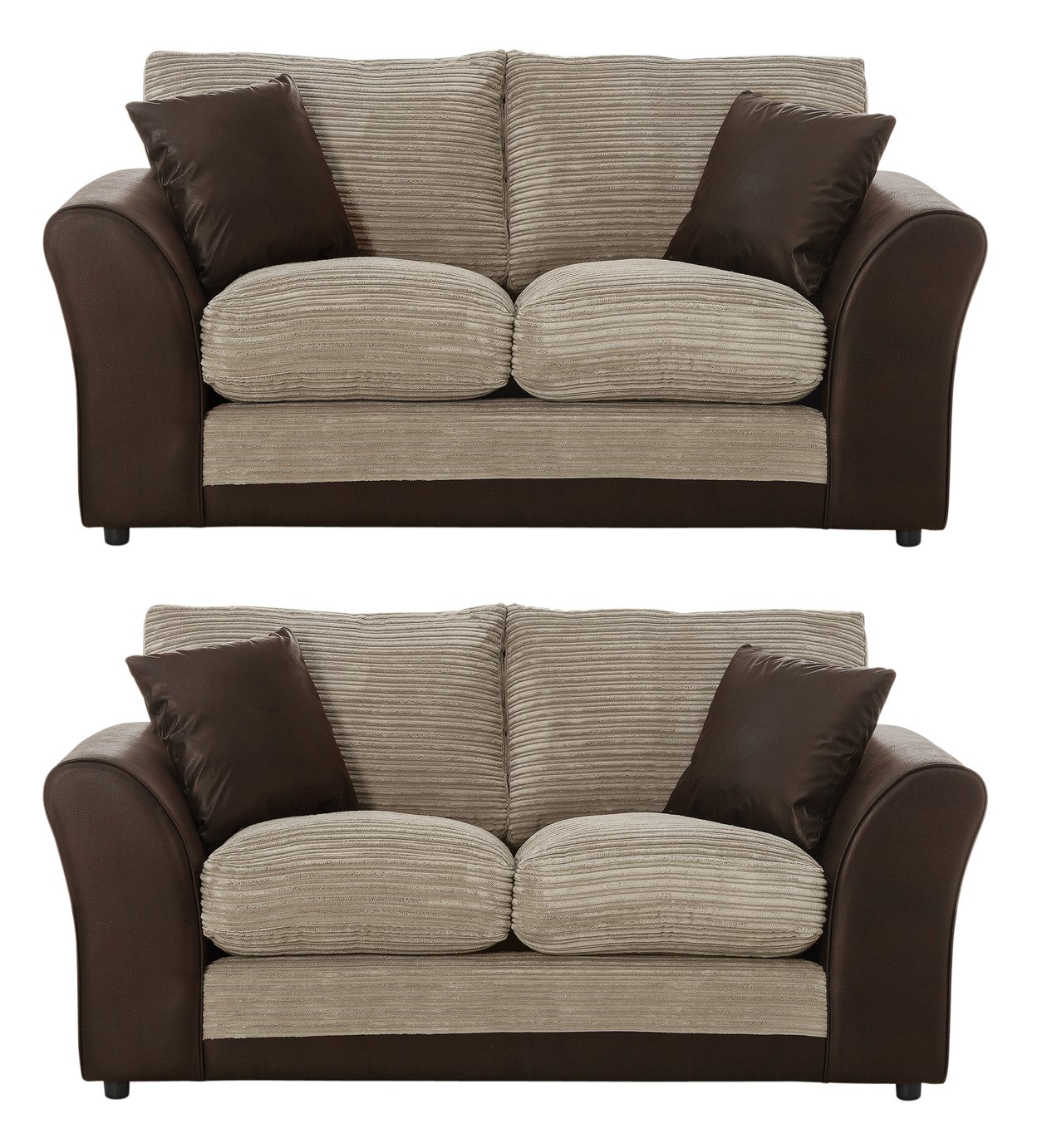 Argos Home Harley 2 Seater and 2 Seater Fabric Sofa - Mink