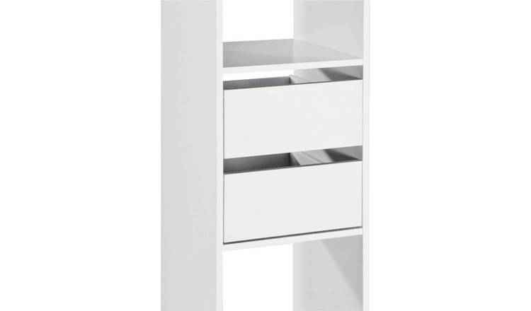 Spacepro Basix Twin Drw Pack for Sliding Wardrobes - White