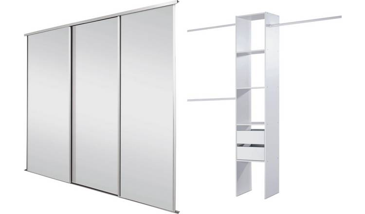 Sliding Wardrobe Door Kit W2235mm White Frame Mirror+Storage