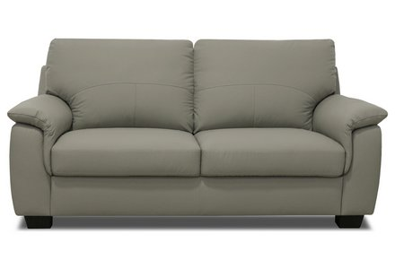 HOME Lukah 3 Seater Leather Sofa - Grey.