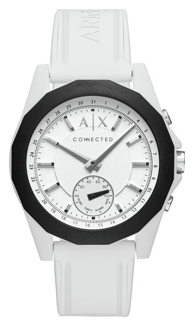 Image of Armani Exchange Connected White Silicone Hybrid Smart Watch
