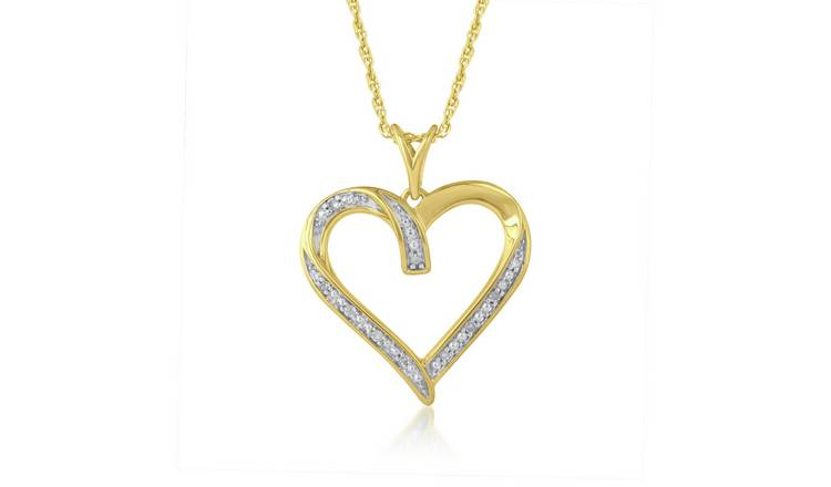 Revere 9ct Gold Plated Diamond Heart  Pendant Necklace