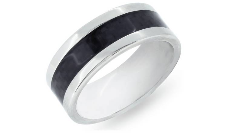Revere Mens Titanium Mosaic Effect Ring Boxed - X