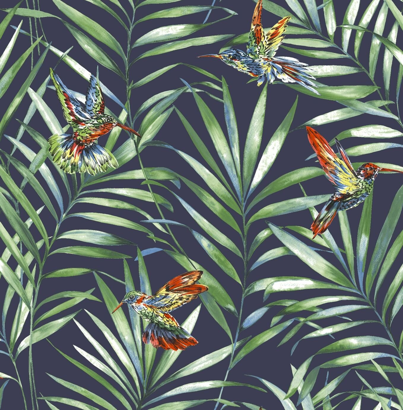 Fresco Hummingbird Navy Wallpaper