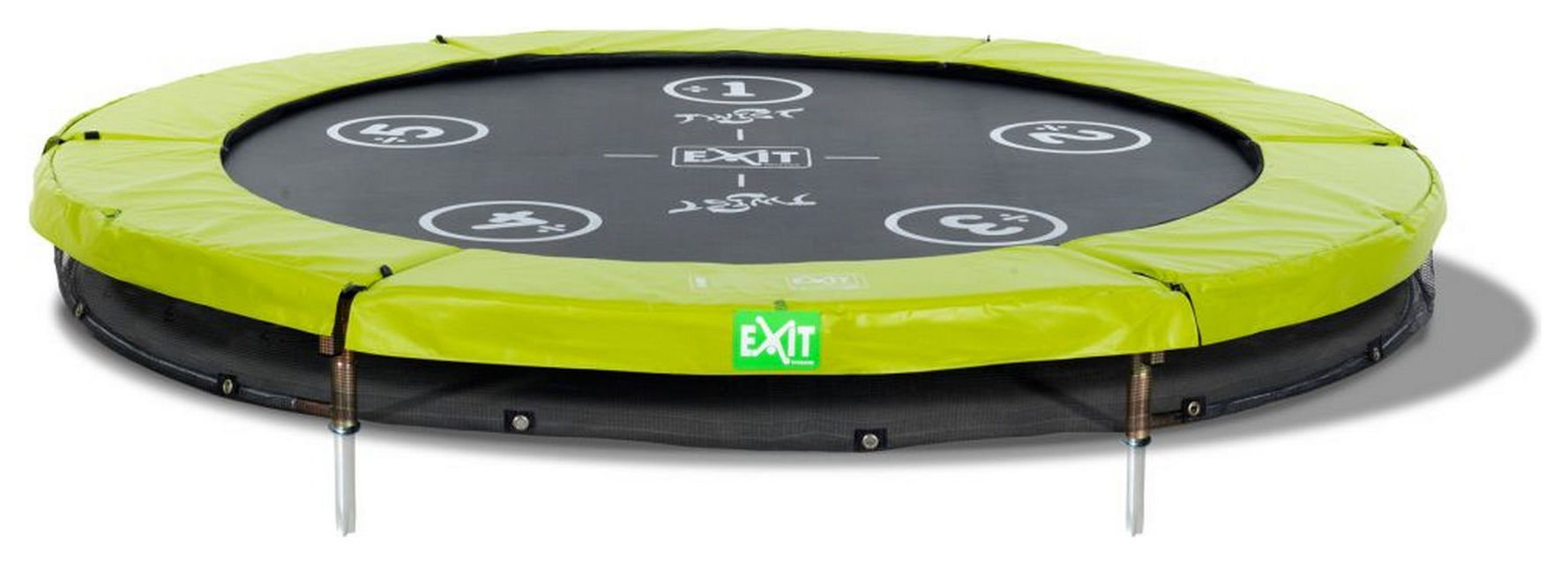 Image of EXIT - 12ft Twist Ground - Trampoline - Green/ Grey