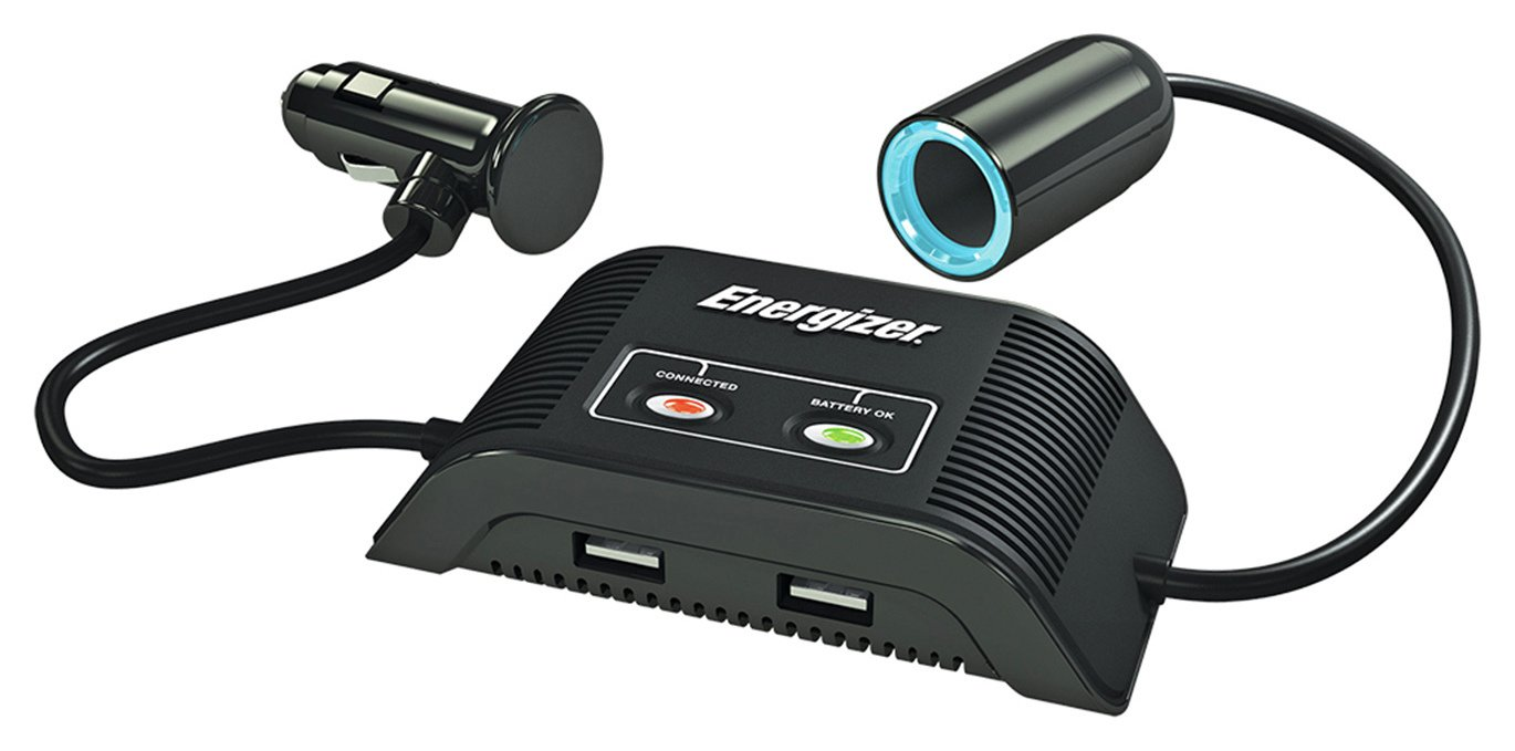 Energizer 12V Socket and Twin USB Adapter with Battery Guard