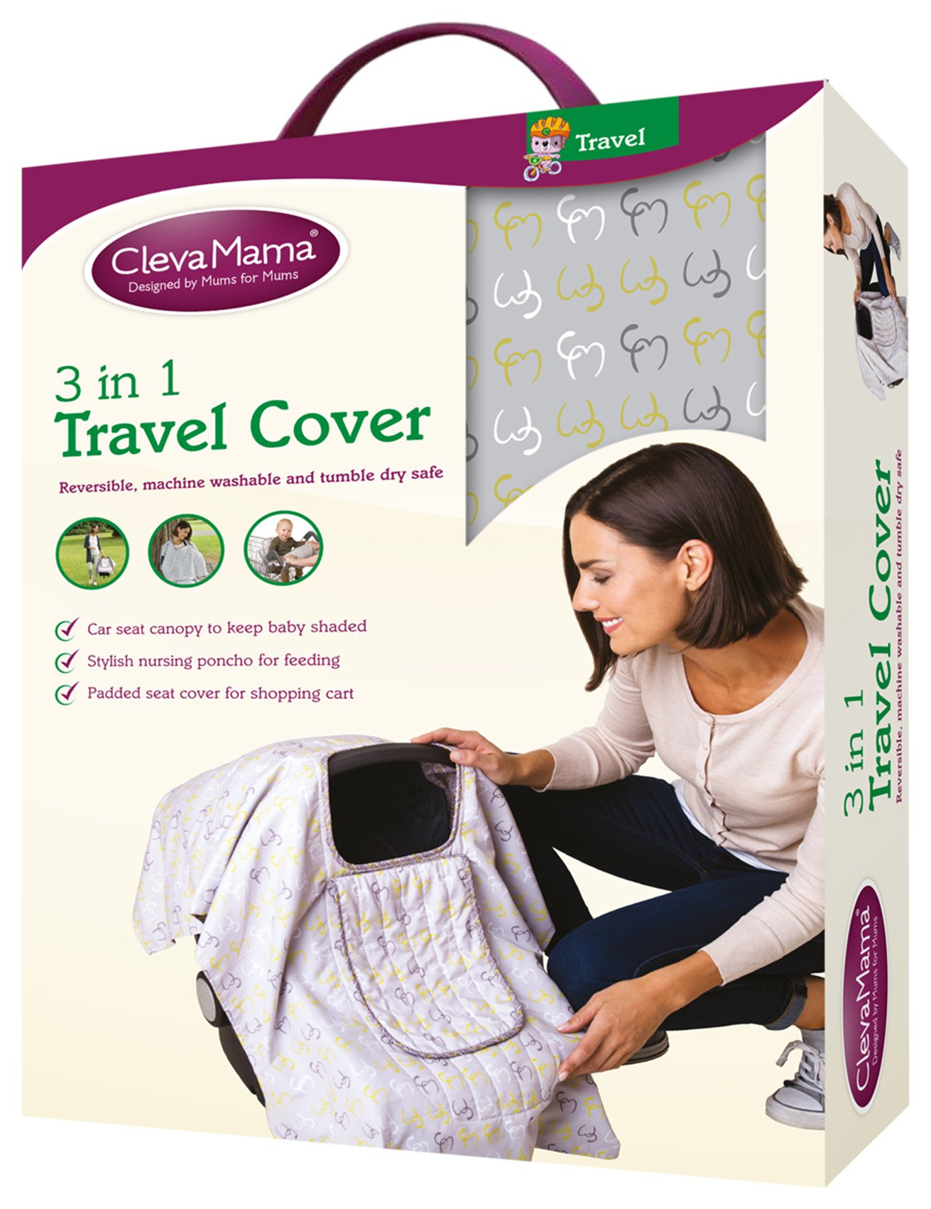 Image of Clevamama 3 in 1 Travel Cover - Lime.