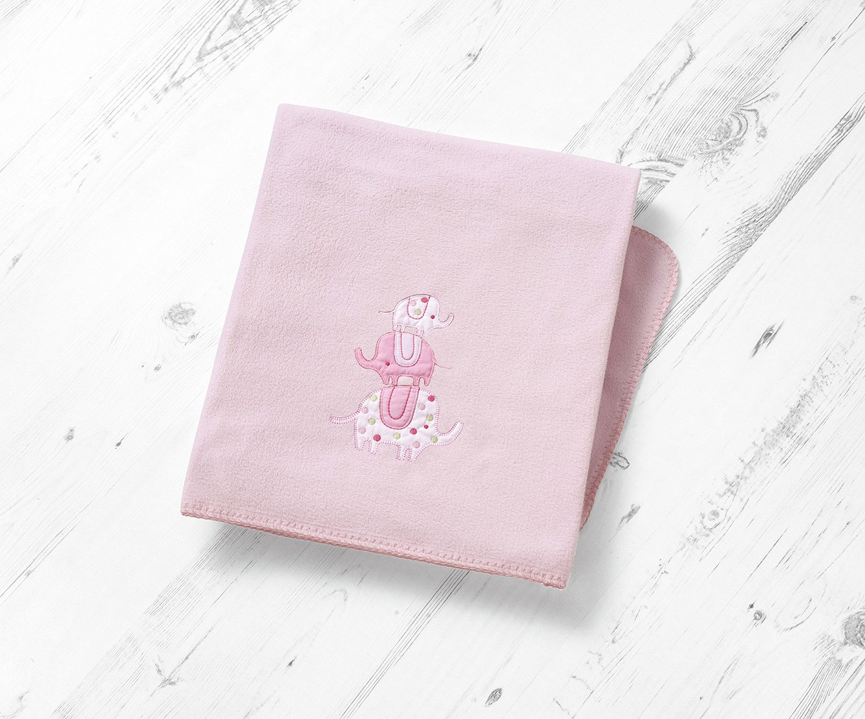 east coast  nursery elephant spot fleece blanket  pink
