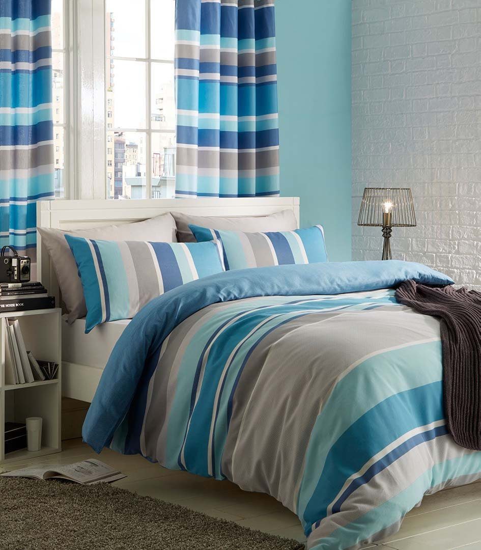 catherine lansfield teal stripe bedding set  double.