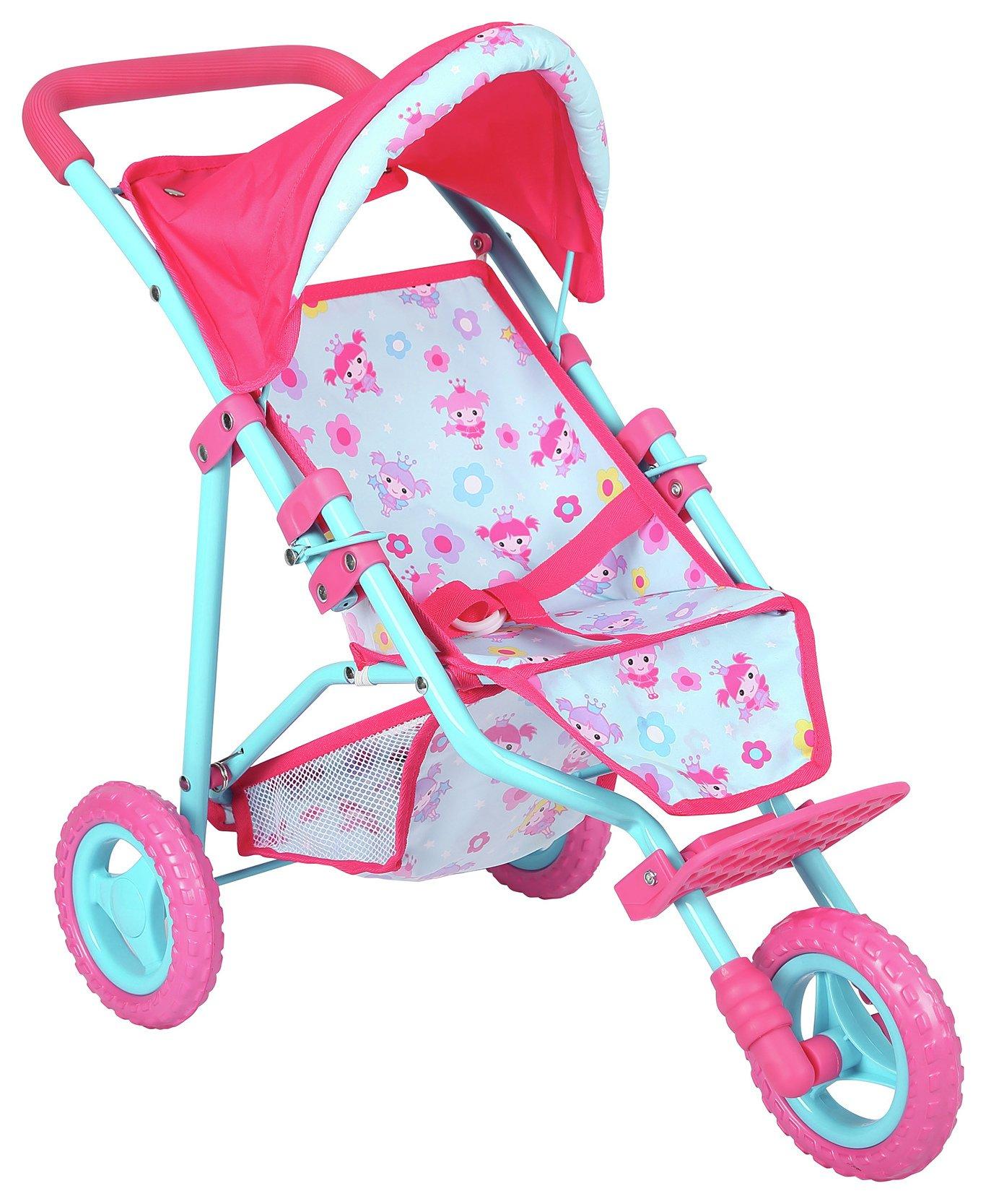 Image of Dollsworld Deluxe 3 Wheel Fold Stroller.