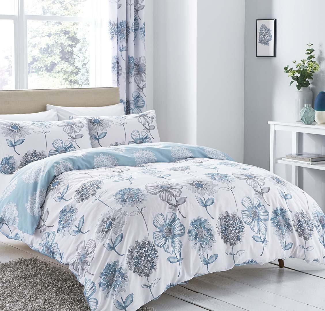 Image of Catherine Lansfield Blue Floral Bedding Set - Kingsize.