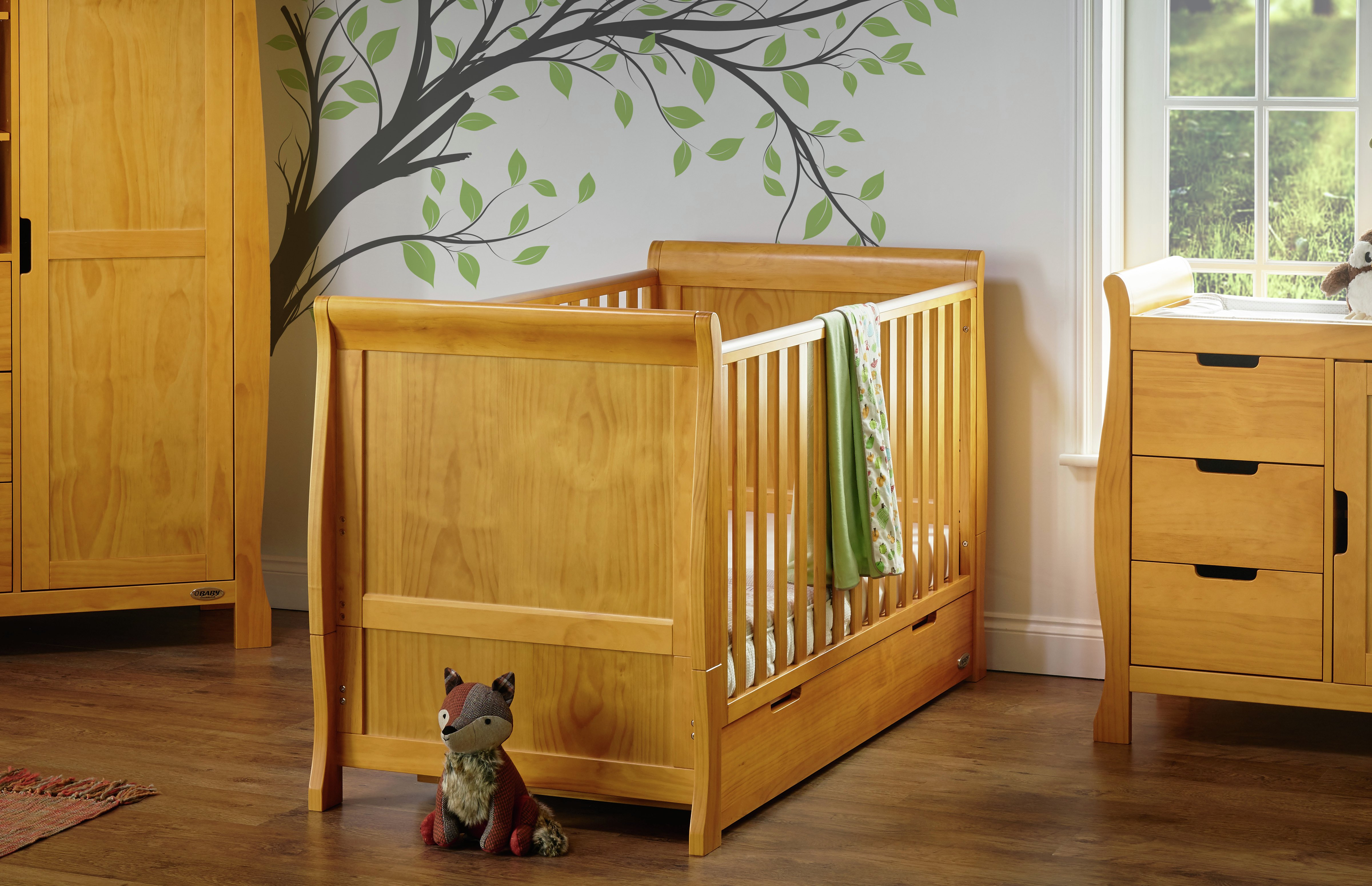 Obaby Stamford Sleigh Cot Bed - Country Pine