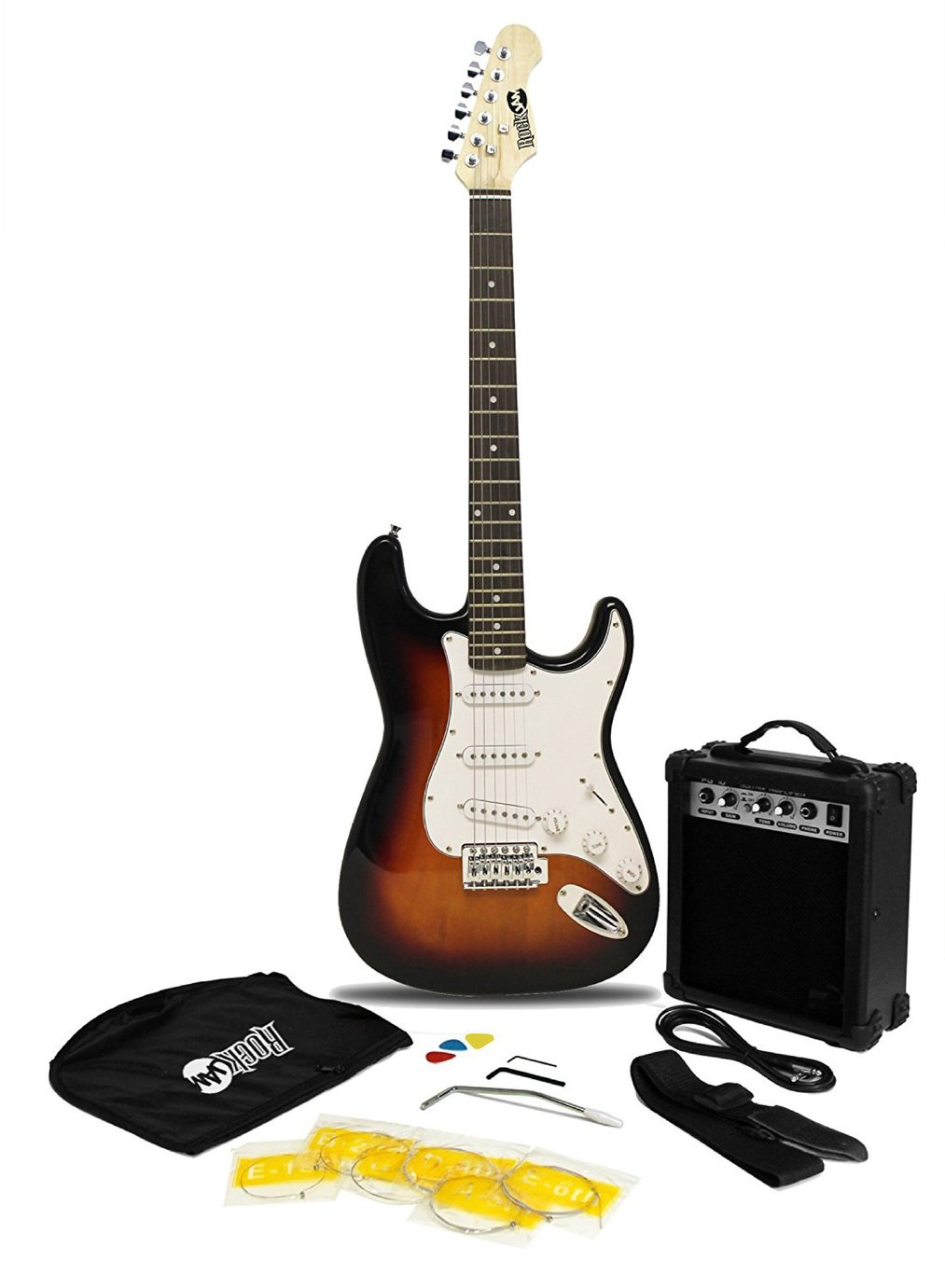RockJam Full Size Electric Guitar Kit with Amp - Sunburst