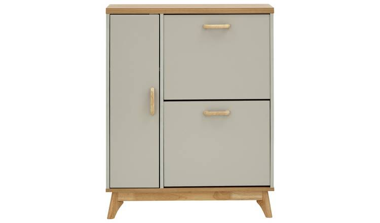 Nordica Two Tier 1 Door Shoe Cabinet - Two Tone
