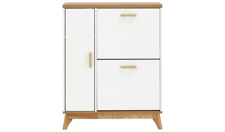 Nordica Two Tier 1 Door Shoe Cabinet - White