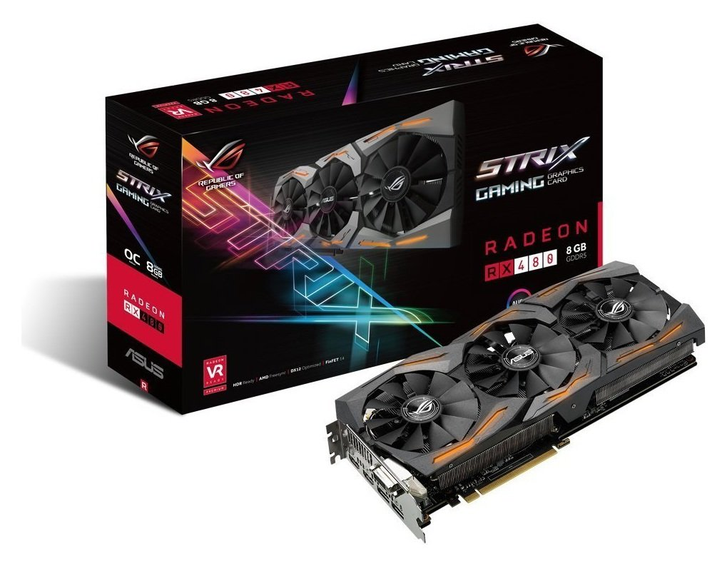 ROG Strix Radeon RX 480 gaming graphics cards are packed with exclusive ASUS technologies, including DirectCU III Technology with Patented Wing-Blade Fans for 30 p...