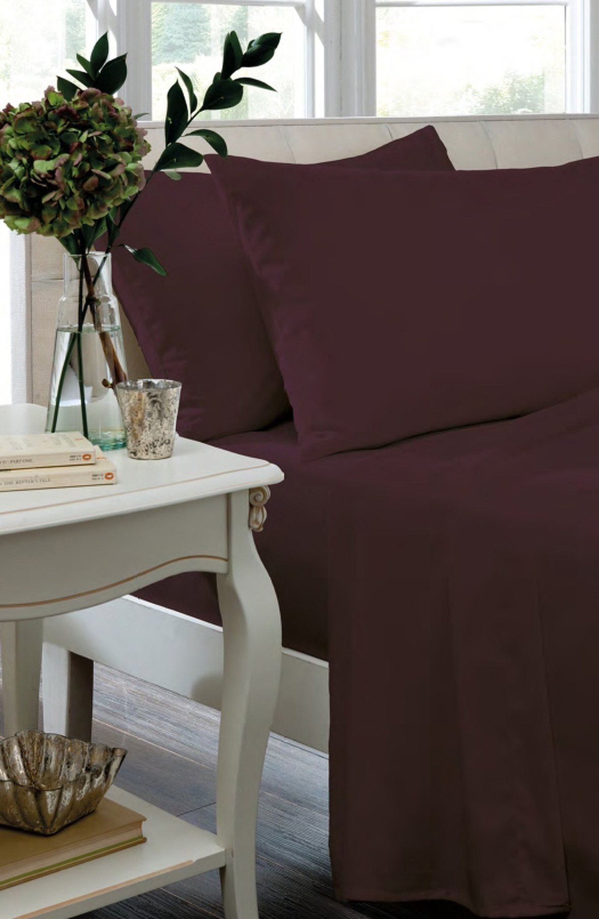 catherine lansfield non iron plum fitted sheet  single.