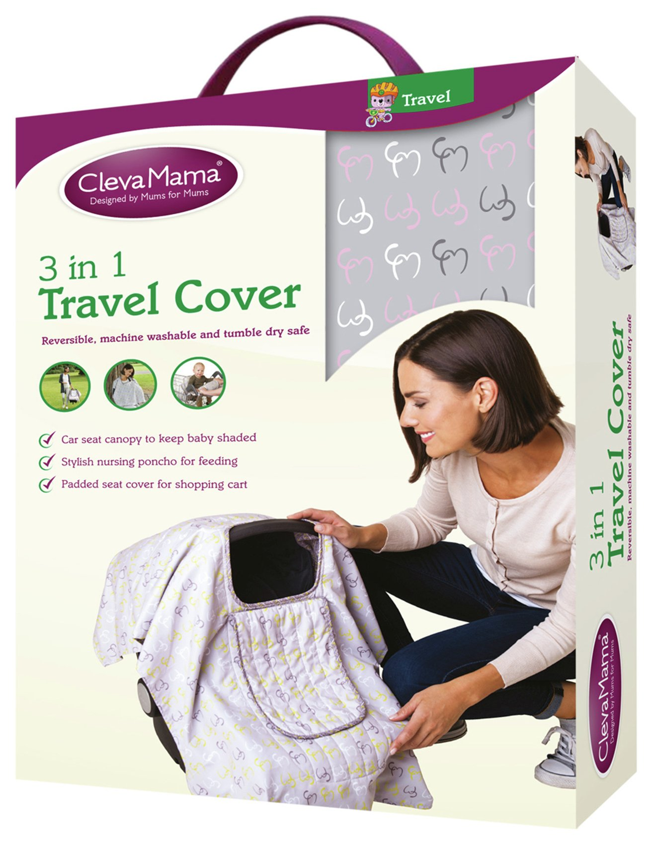 Image of Clevamama 3 in 1 Travel Cover - Rose.