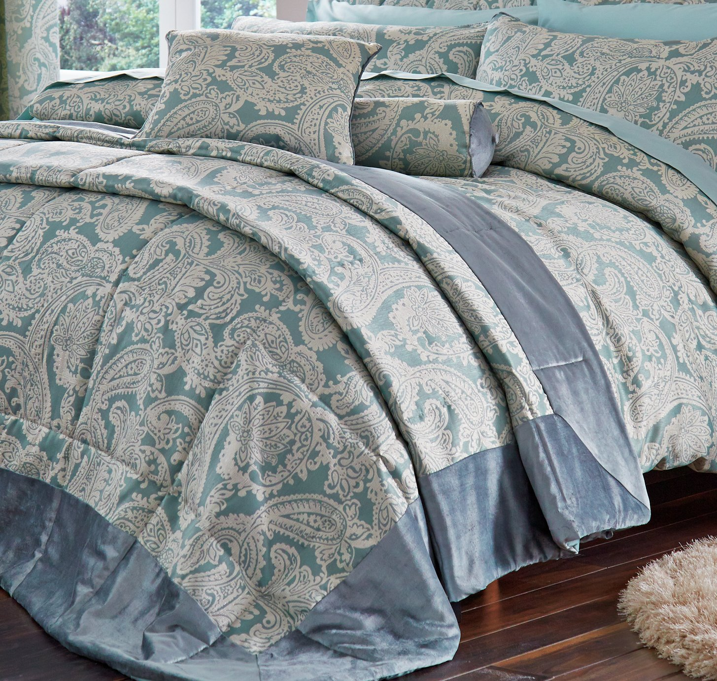 catherine lansfield opulent jacquard bedspread  duck egg.