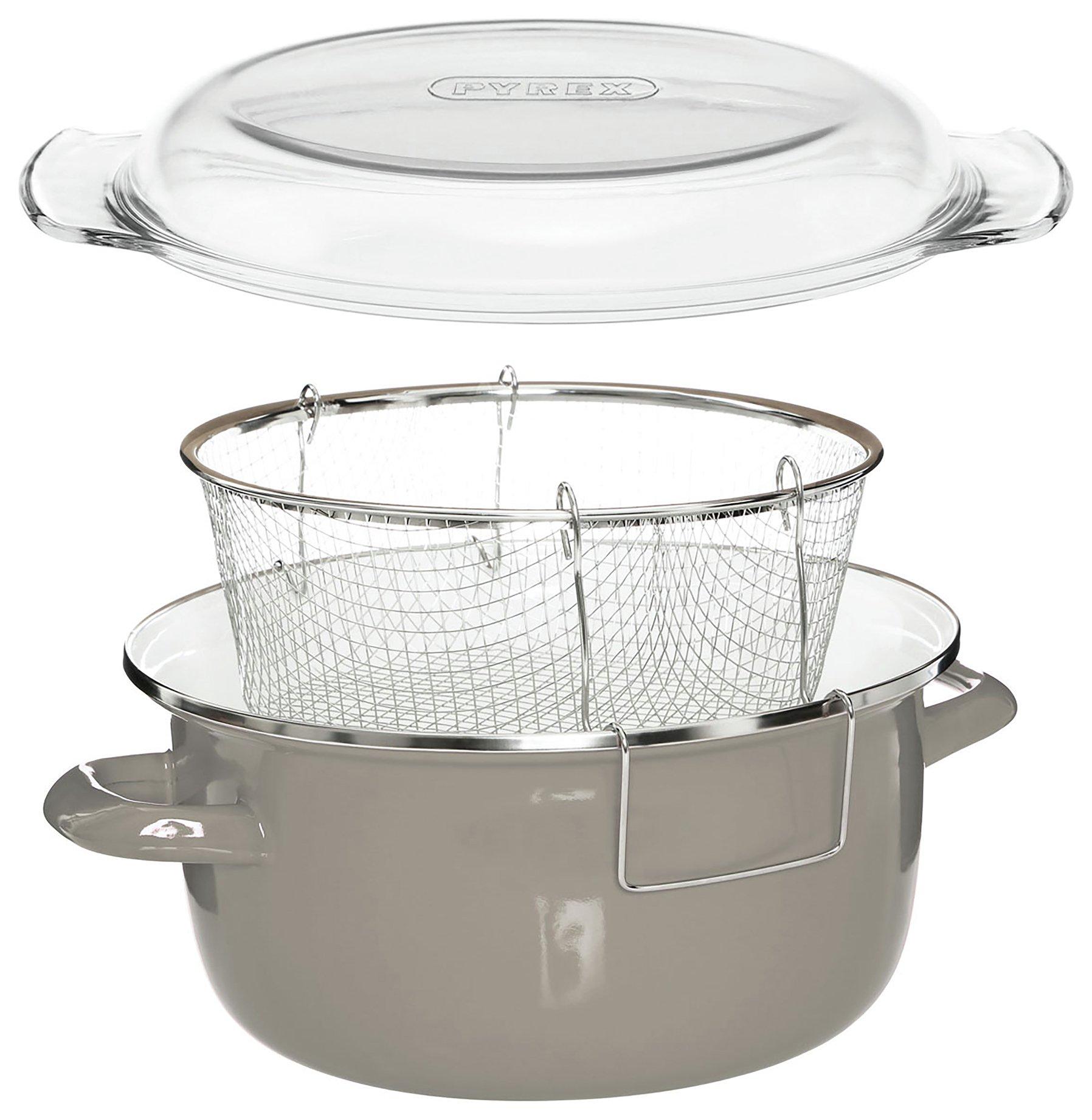 Deep Fryer Grey Enamel Fryer with Wire Basket.
