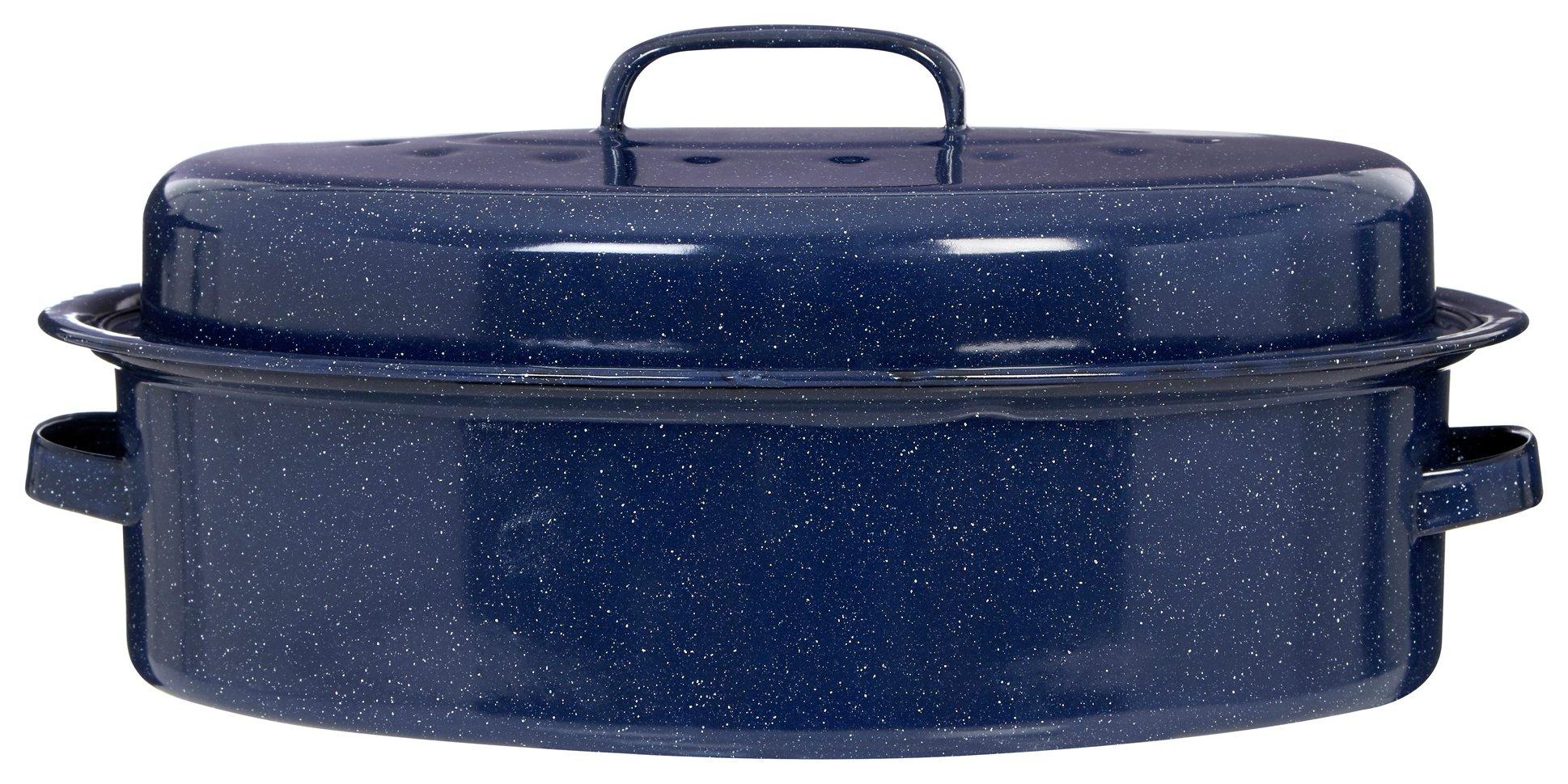 Image of Premier Housewares Enamel Oval Roaster with Lid - Blue.