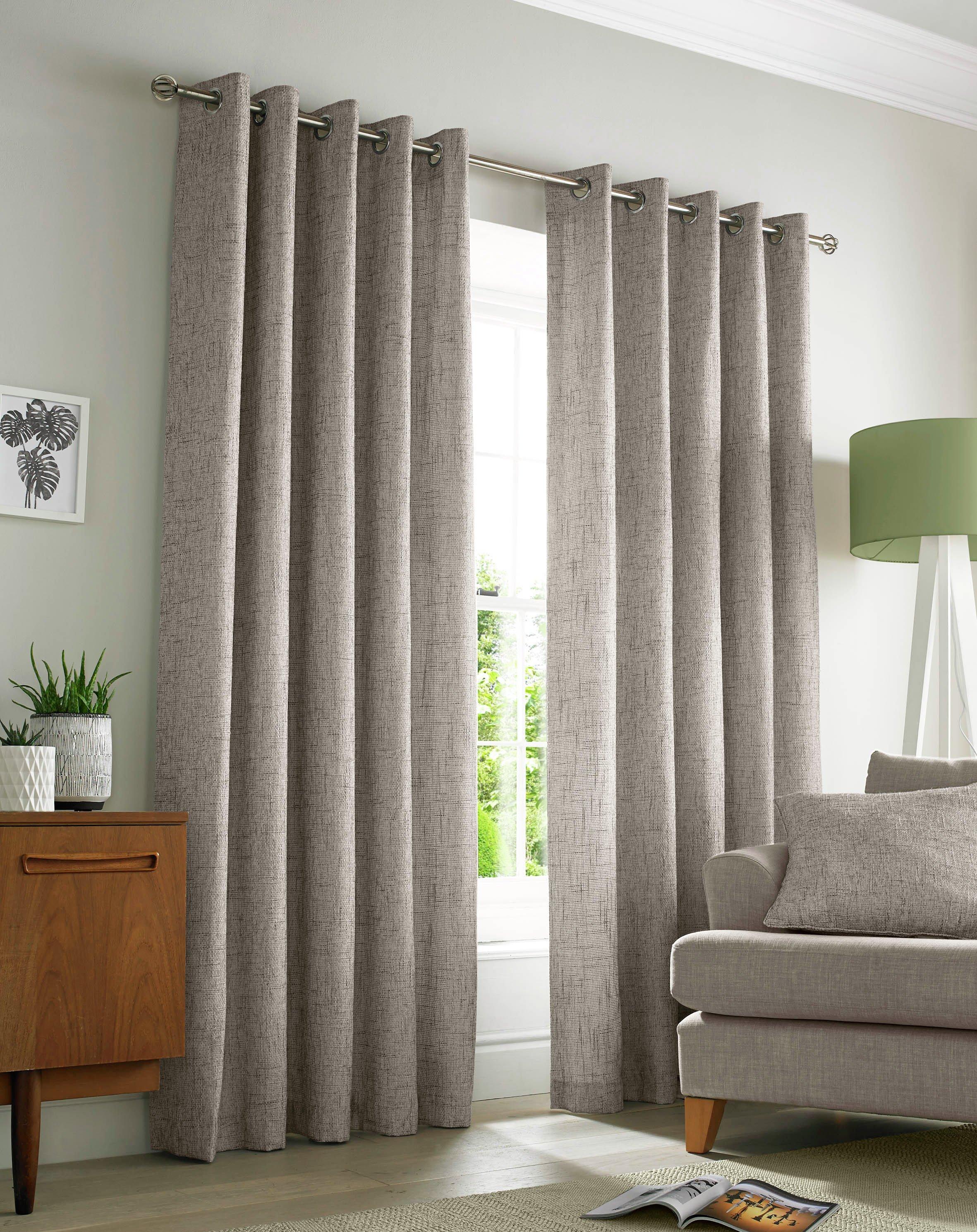 Academy Eyelet Curtains - 117x137cm - Natural.