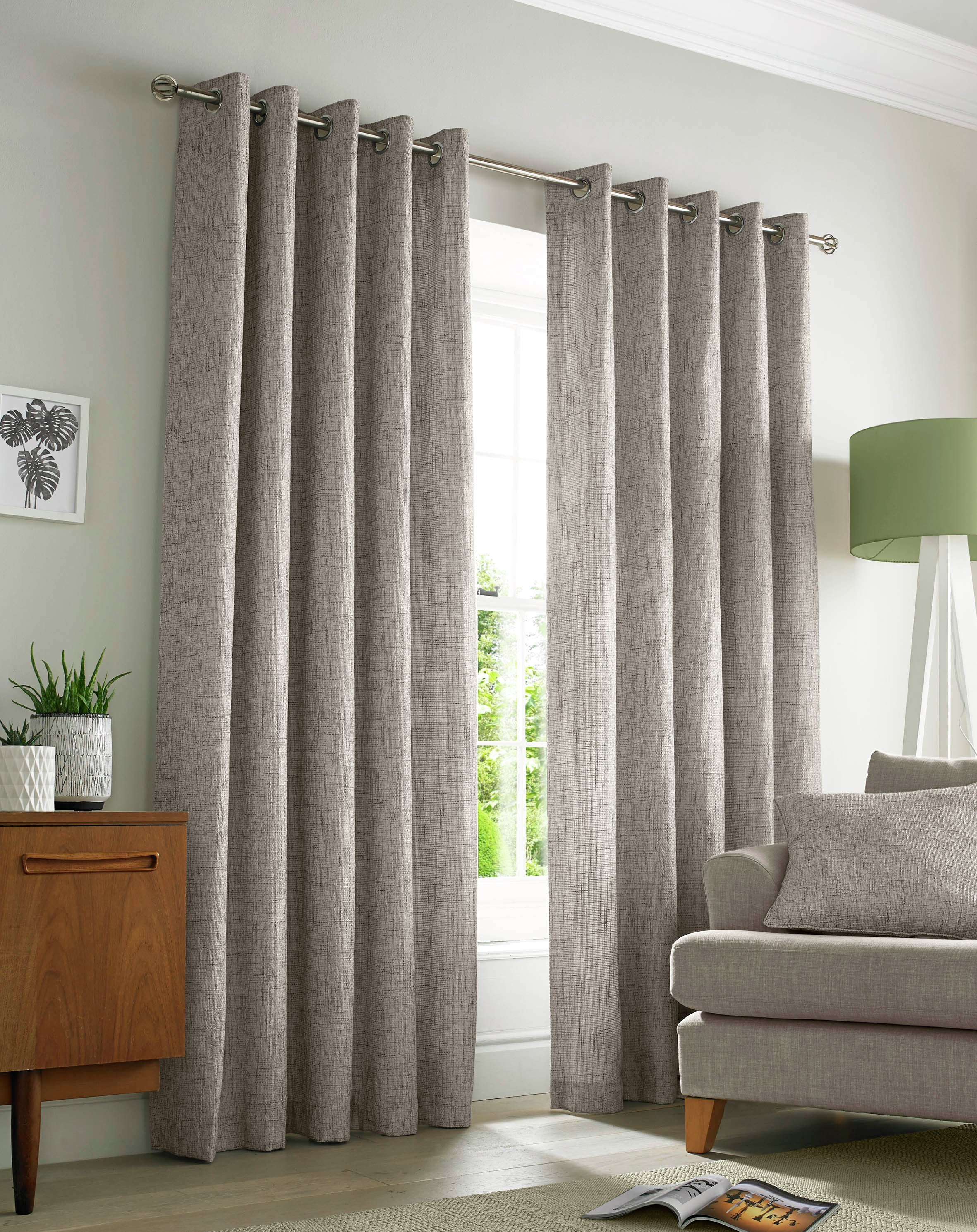 Image of Academy Eyelet Curtains - 165x137cm - Natural.