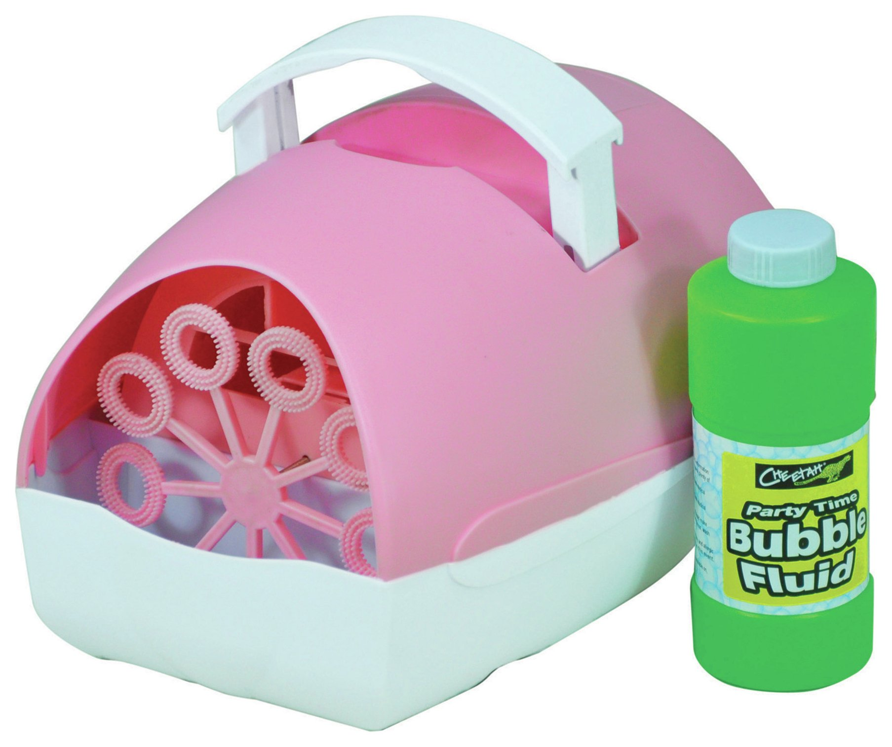 Image of Cheetah Party Time Battery Operated Bubble Machine - Pink.