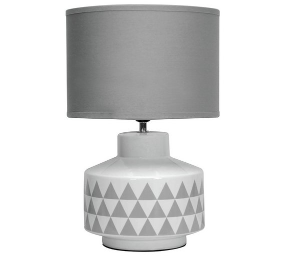 Buy wylie ceramic fabric table lamp white grey table lamps click to zoom aloadofball Images