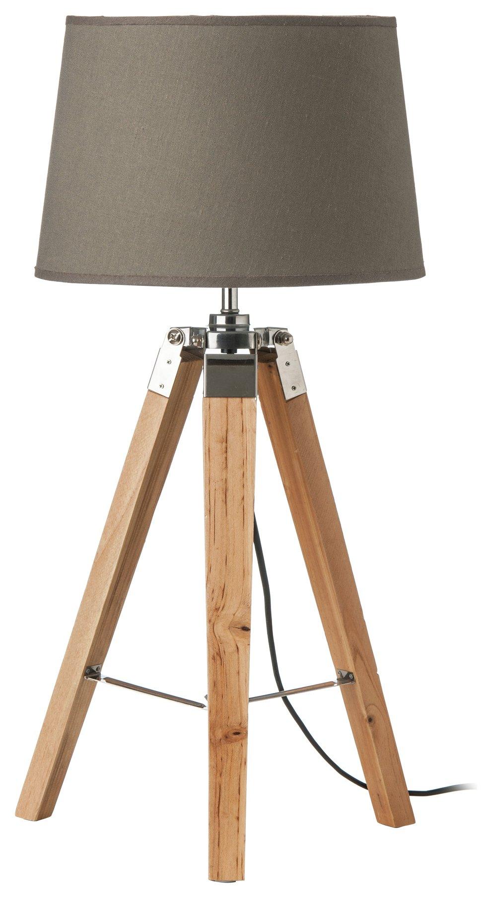 Image of Wood Base Tripod - Table Lamp - Grey