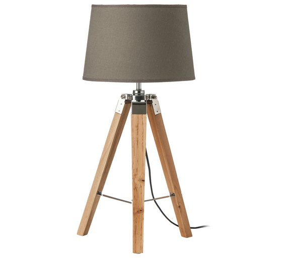 Buy wood base tripod table lamp grey table lamps argos click to zoom aloadofball Choice Image