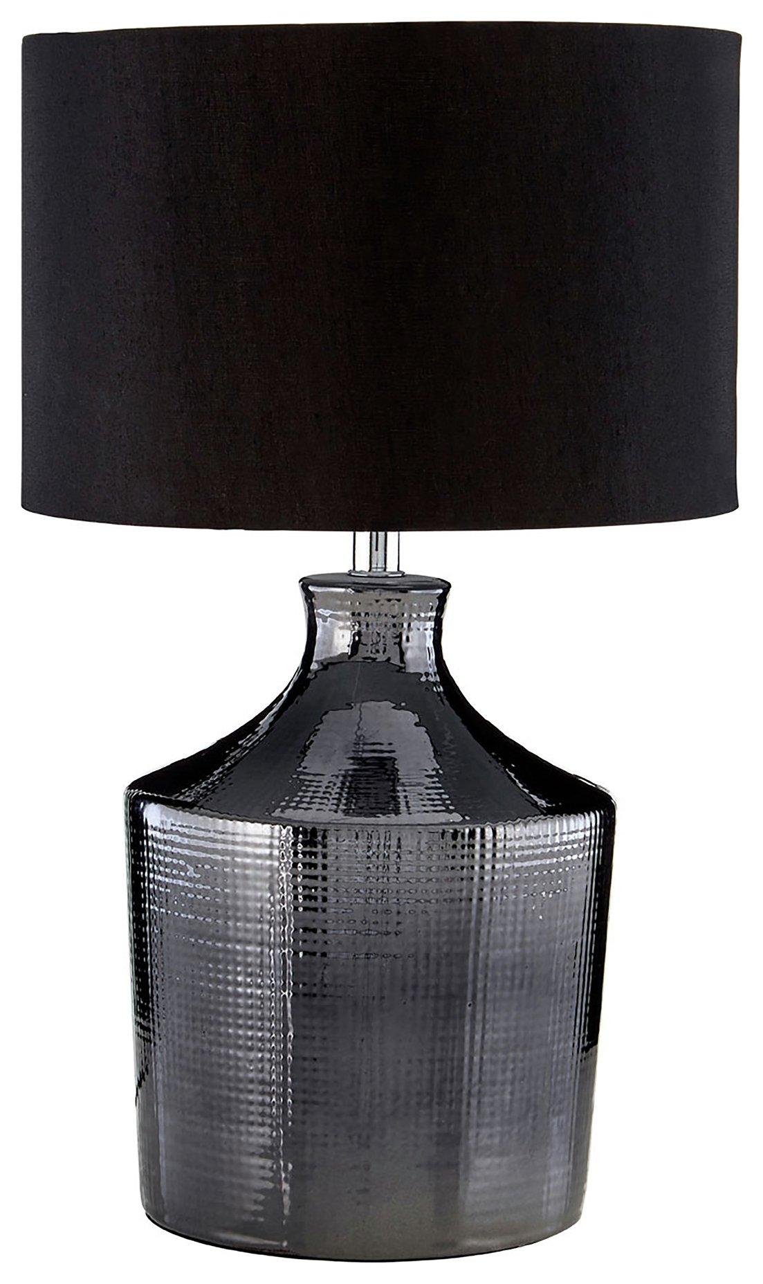 Image of Jeff - Ceramic - Table Lamp - Black & Chrome