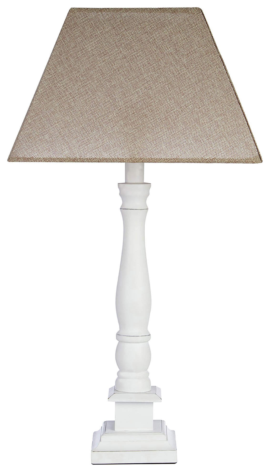 Image of Maine - Wood Candlestick Table Lamp - White