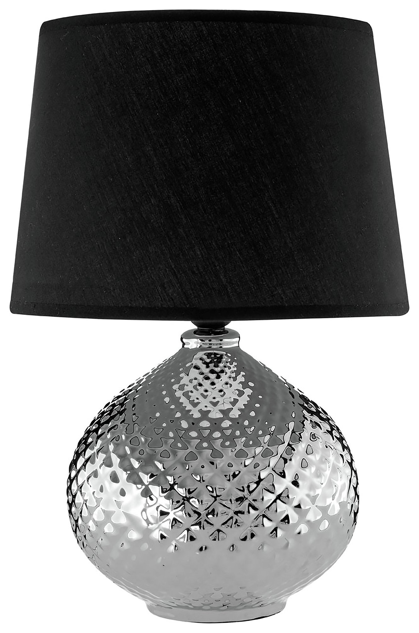 Image of Hetty Ceramic Table Lamp - Silver & Black