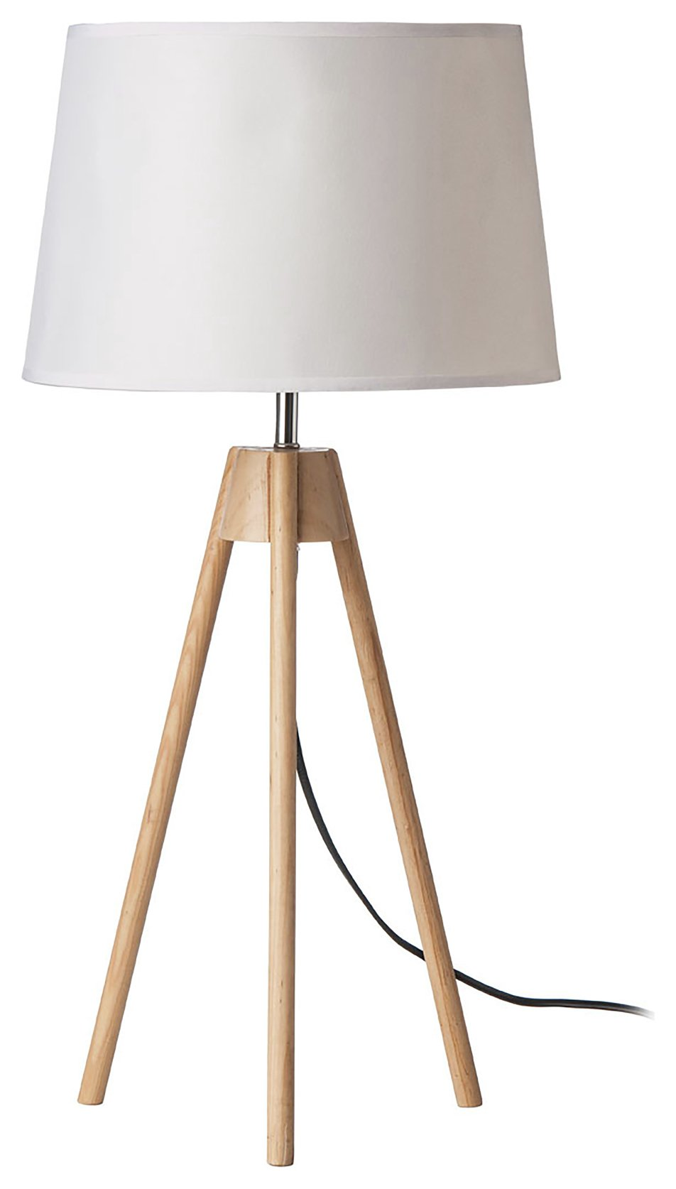 wood base tripod table lamp white