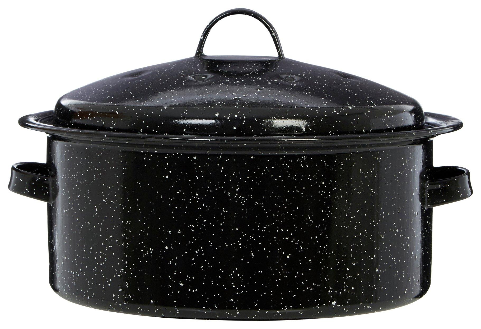 Image of Premier Housewares Enamel 28cm Black Round Roaster with Lid.