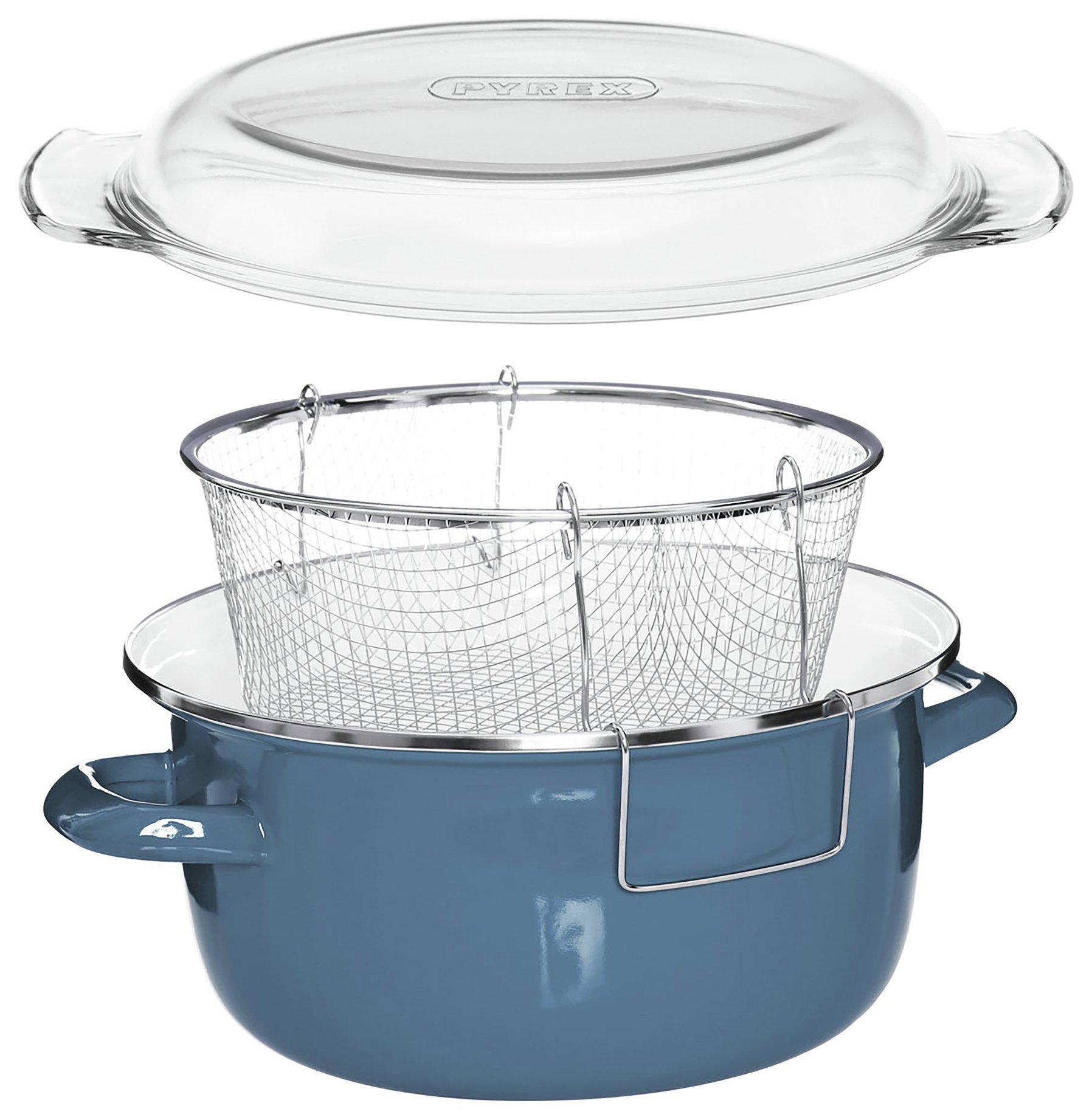 Deep Fryer Blue Enamel Fryer with Wire Basket.