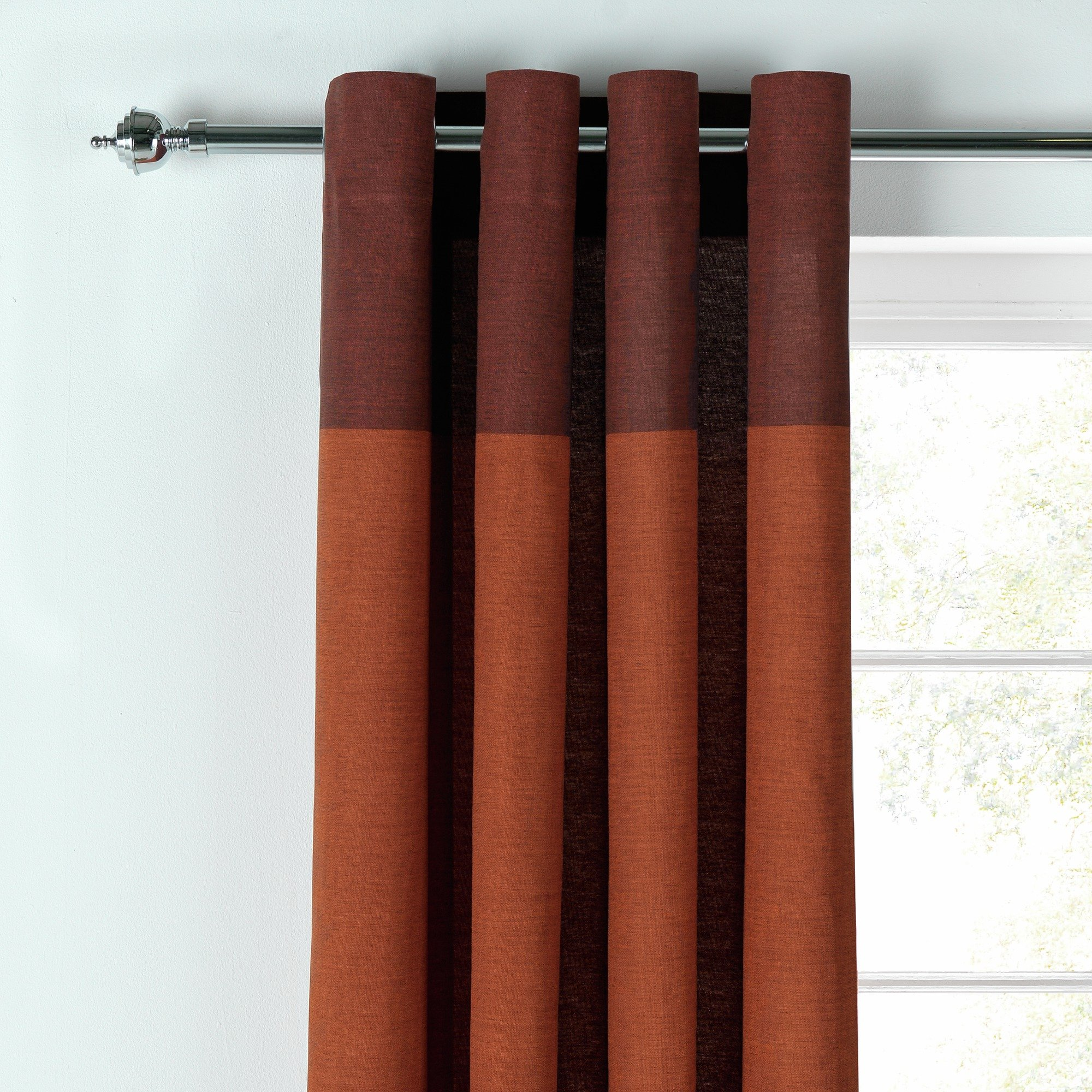 HOME Dublin Unlined Eyelet Curtains - 117x137cm - Brick