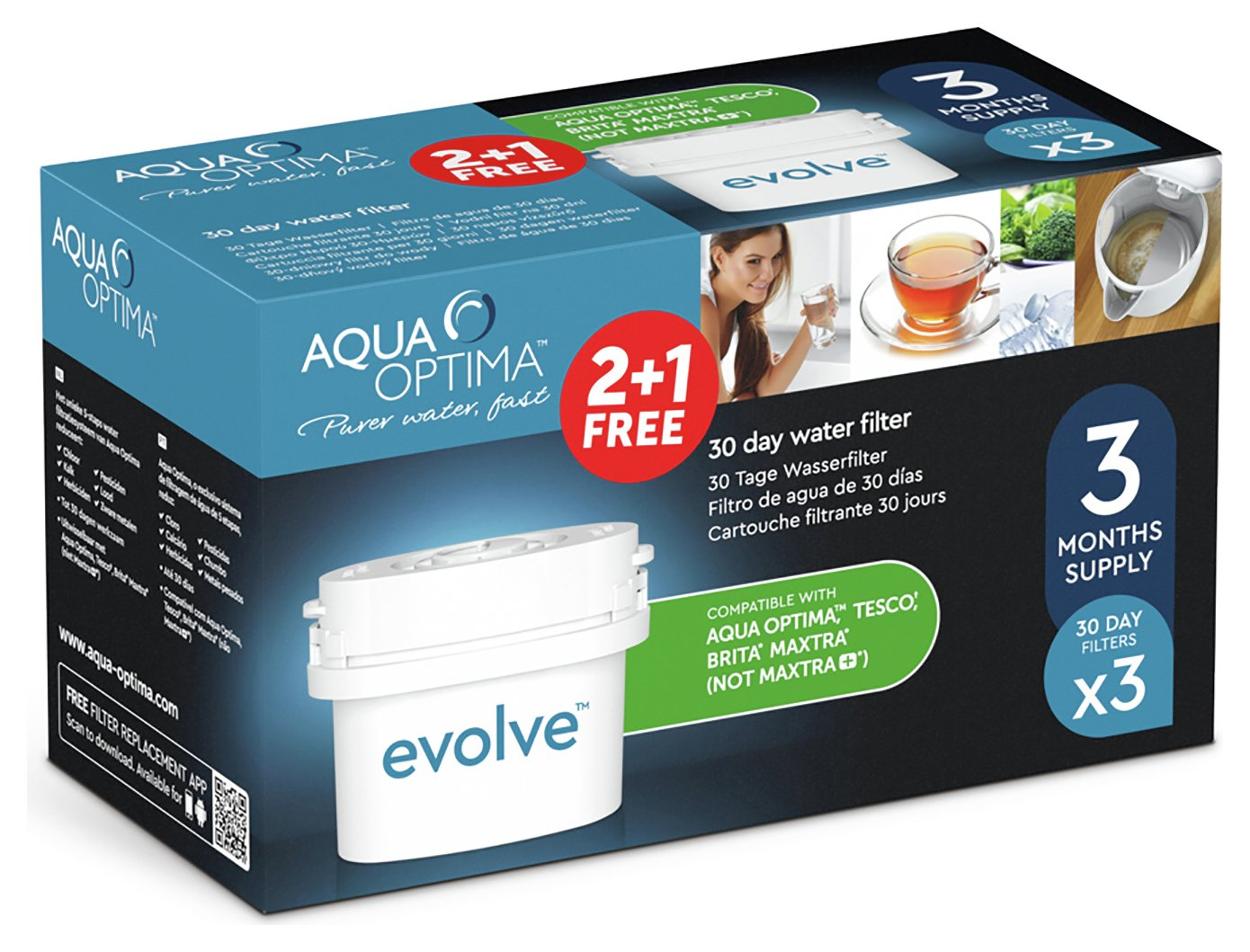 Aqua Optima Evolve Water Filter Cartridges - 3 Pack