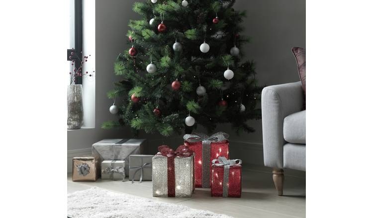 Buy Argos Home Set Of 3 Light Up Gift Boxes Red Silver Christmas Table And Room Decorations Argos