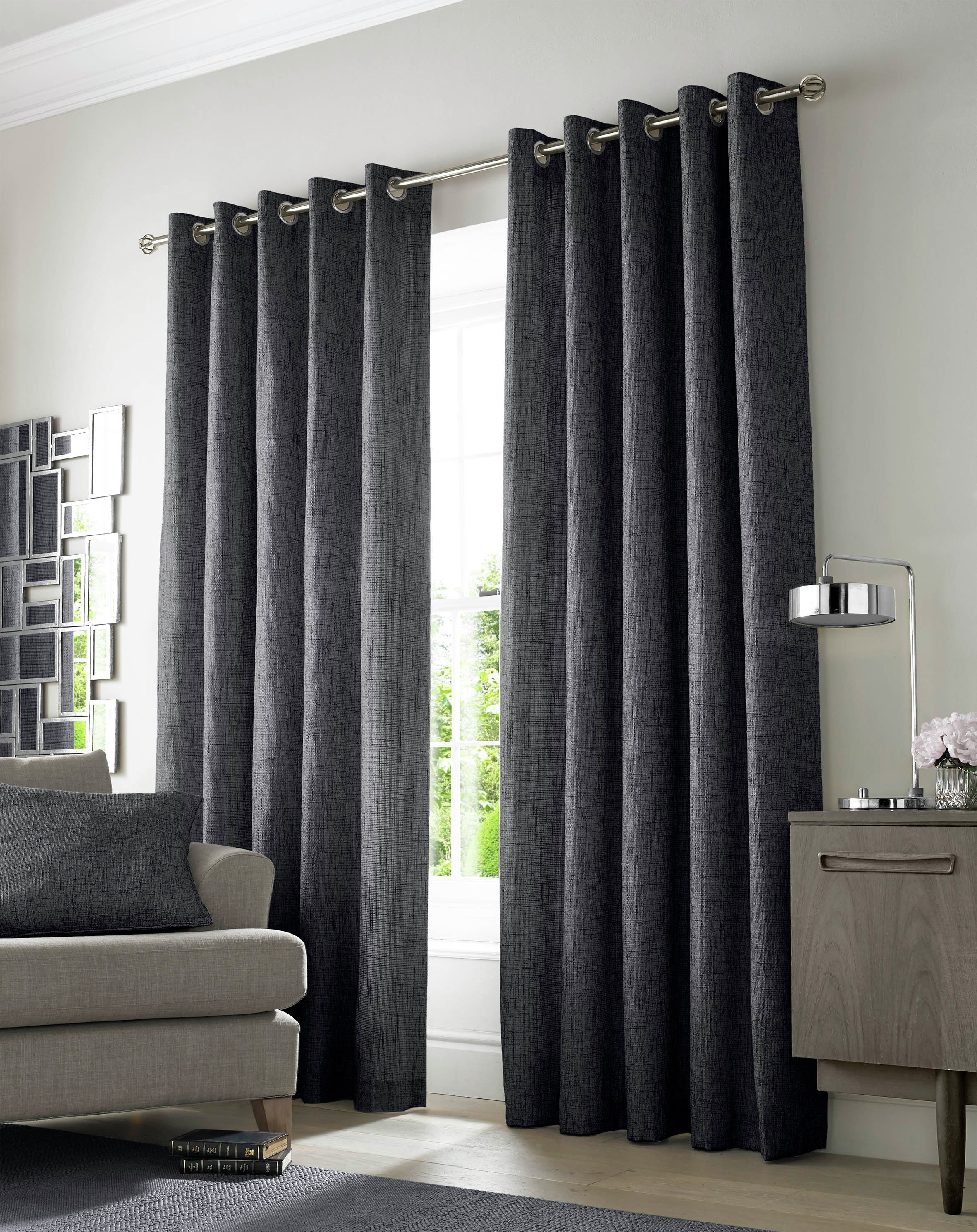 Image of Academy Eyelet Curtains - 165x183cm - Charcoal.