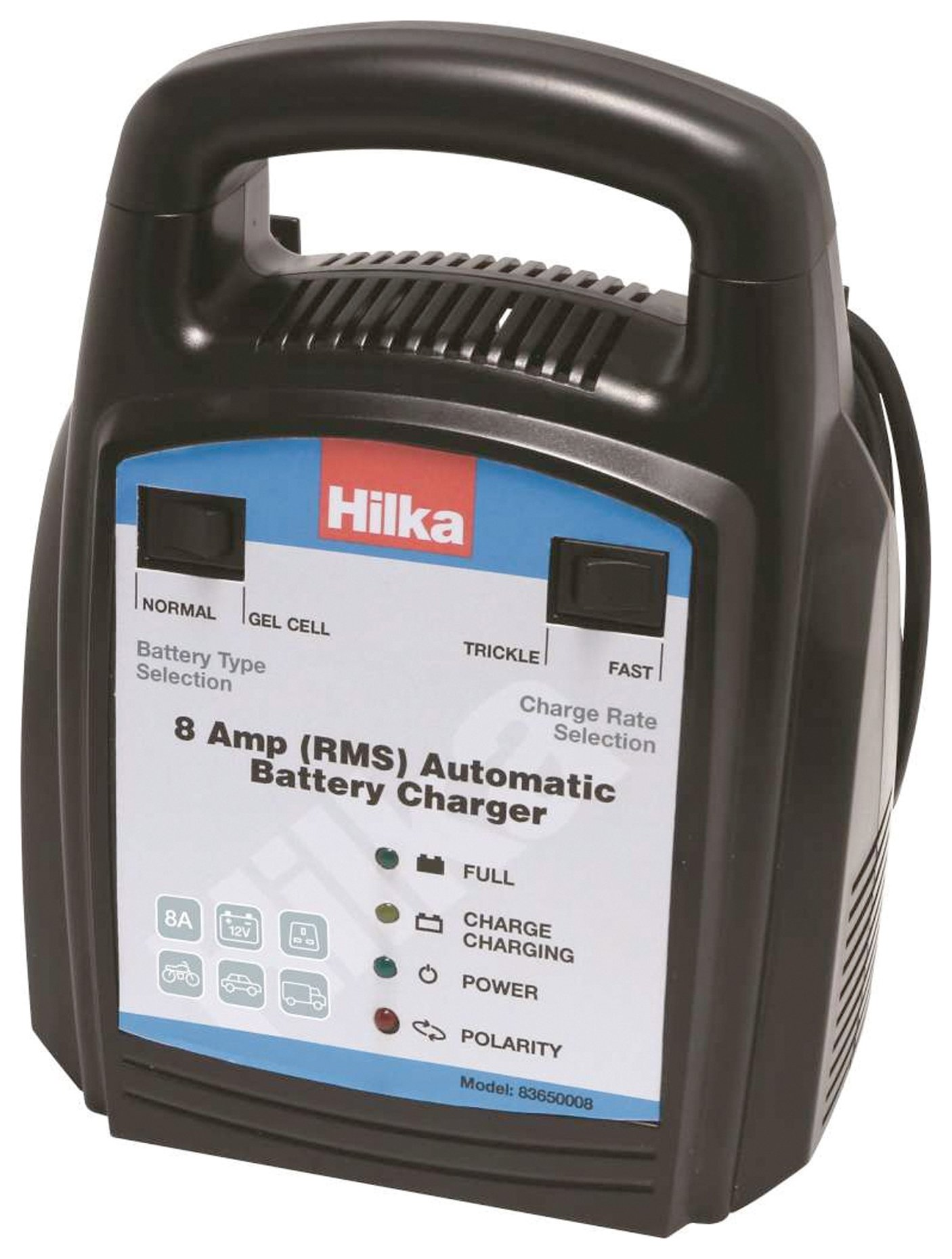 hilka 8 amp automatic battery charger. Black Bedroom Furniture Sets. Home Design Ideas