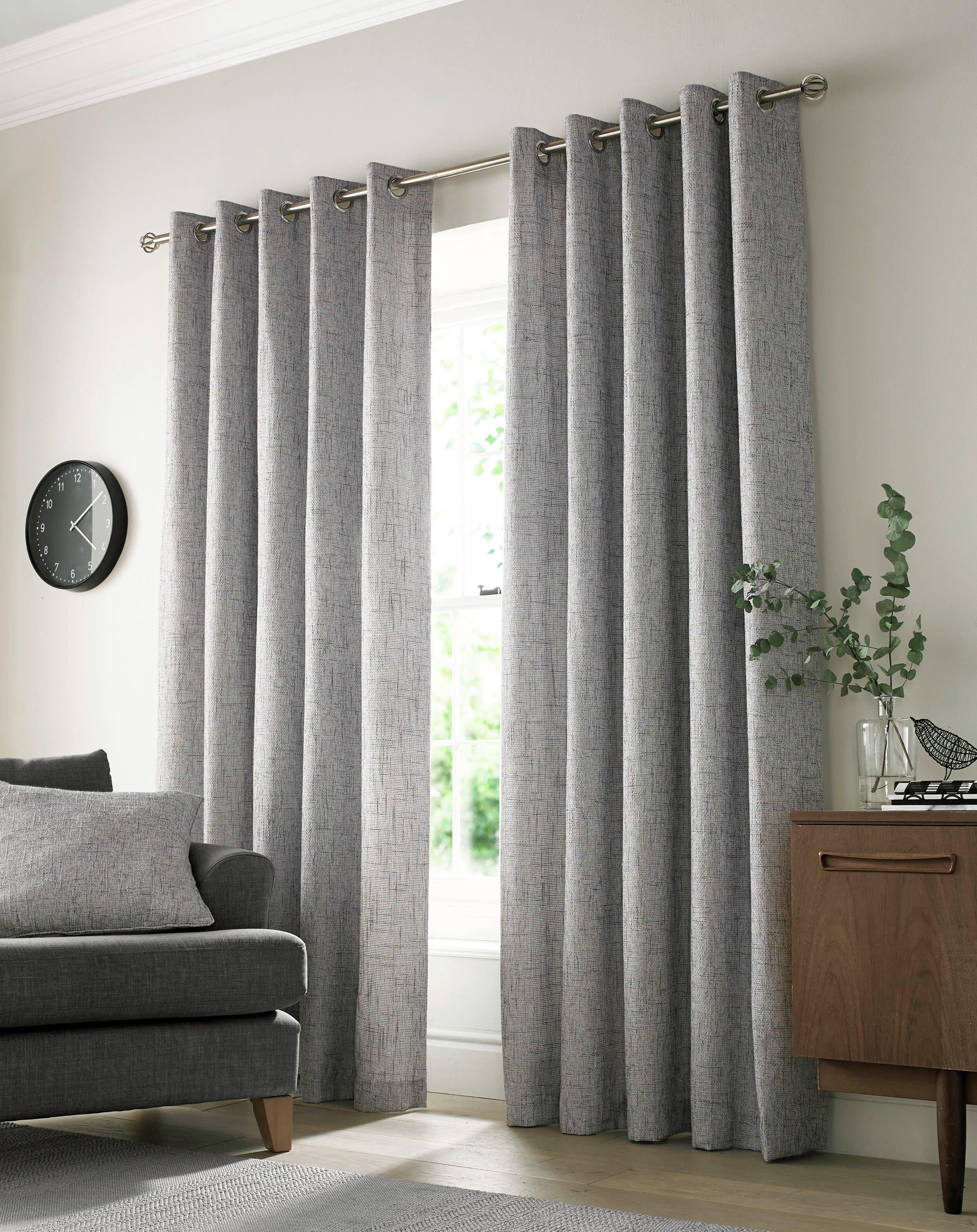 Academy Eyelet Curtains - 117x137cm - Grey.