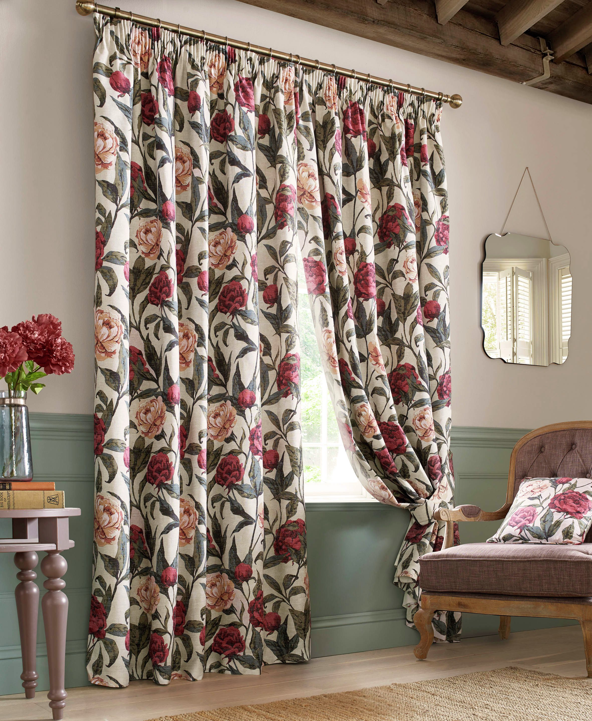 Floral Pencil Pleat Curtains - 117x137cm - Multicoloured.