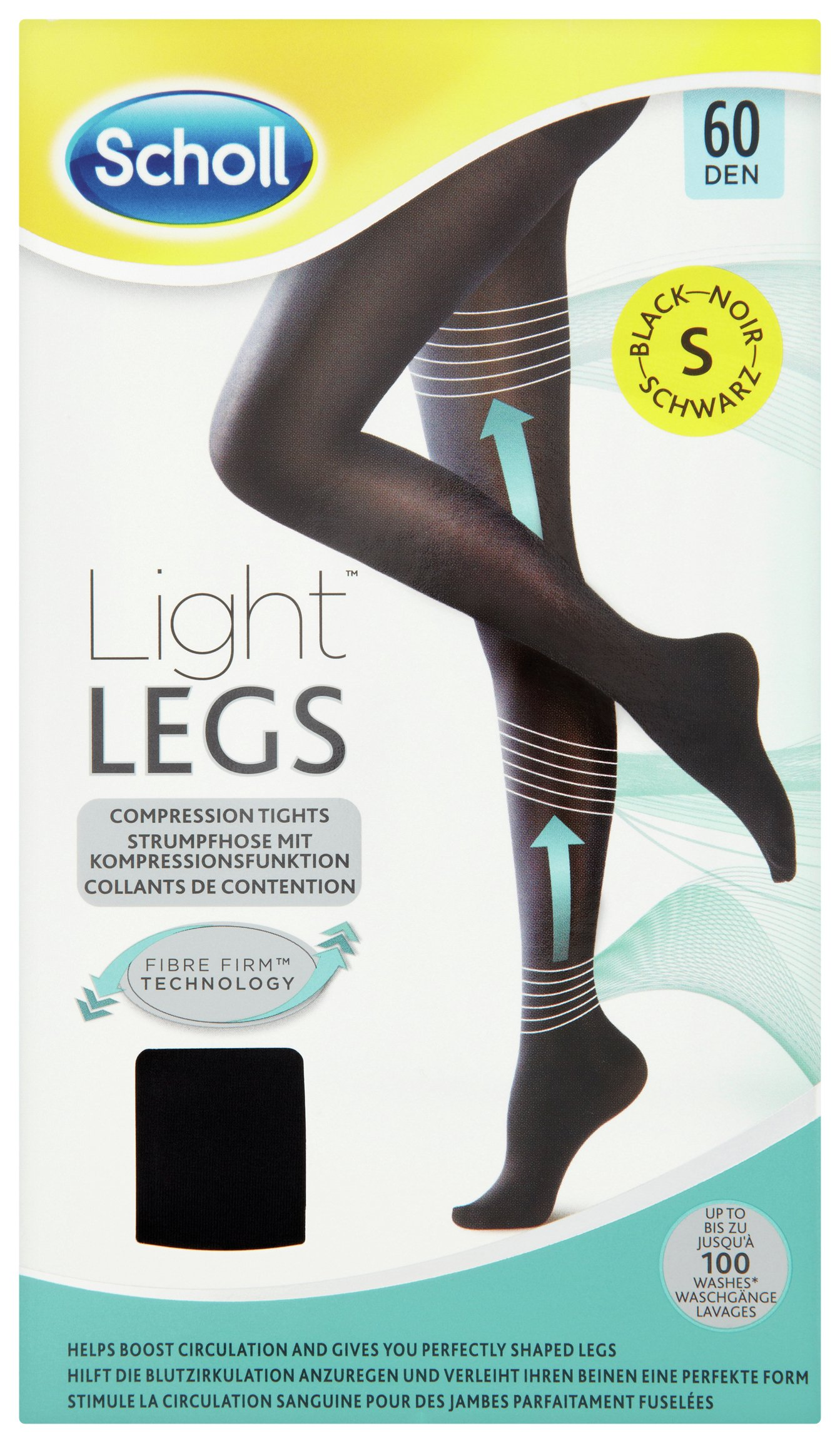 Image of Scholl 60 Denier Black Fibre Firm Tights - Small.