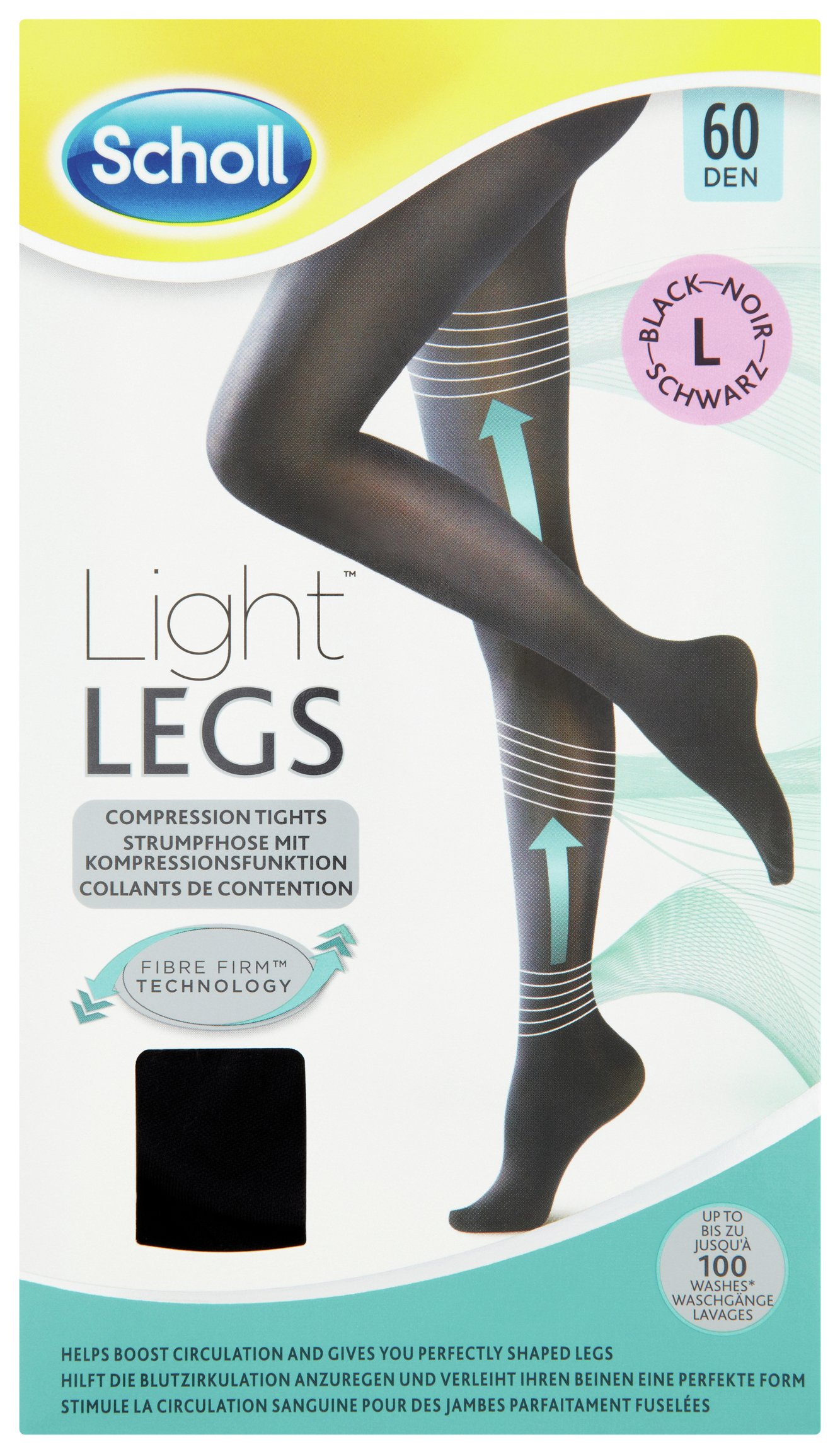 Image of Scholl 60 Denier Black Fibre Firm Tights - Large.