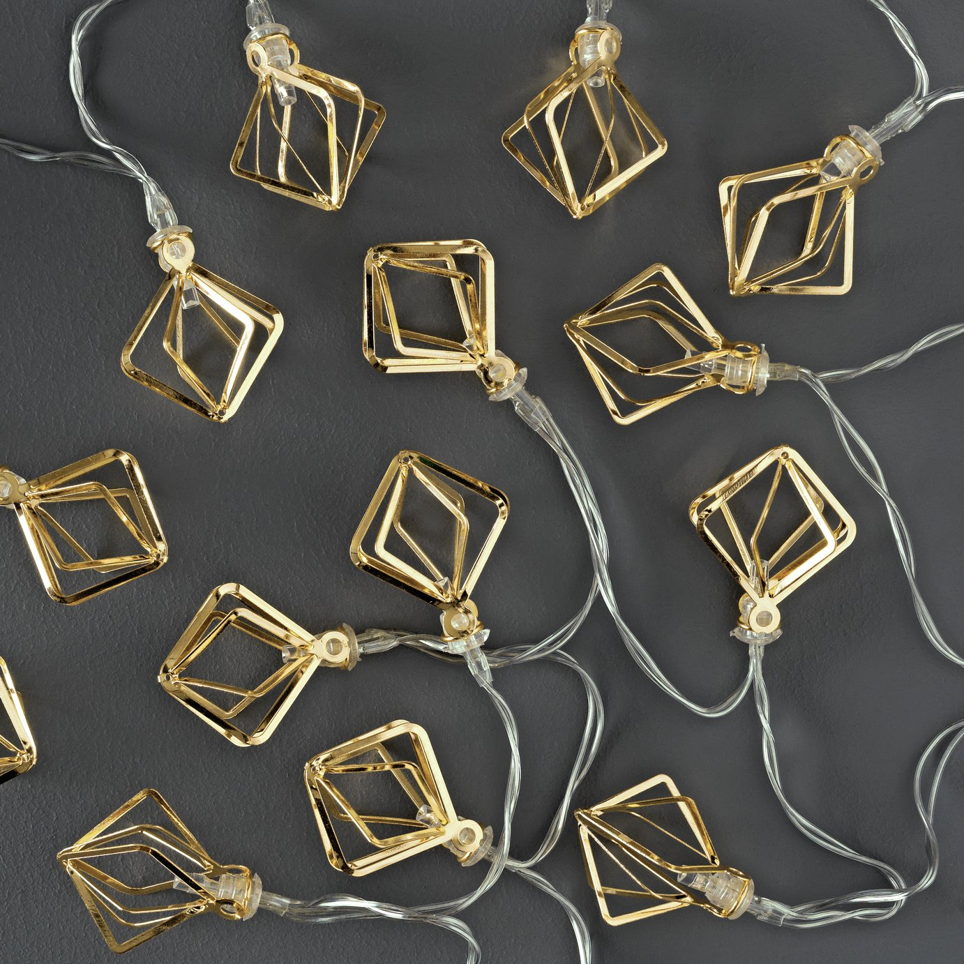 Collection Set of 20 Diamond Cage LED String Lights - Gold